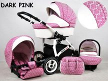 White Lux multifunkciós babakocsi - dark pink